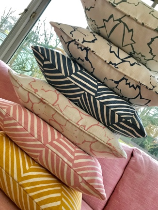 Colourful cushions by Mimi Pickard