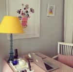 Interior designer Jessica Buckley's pink desk
