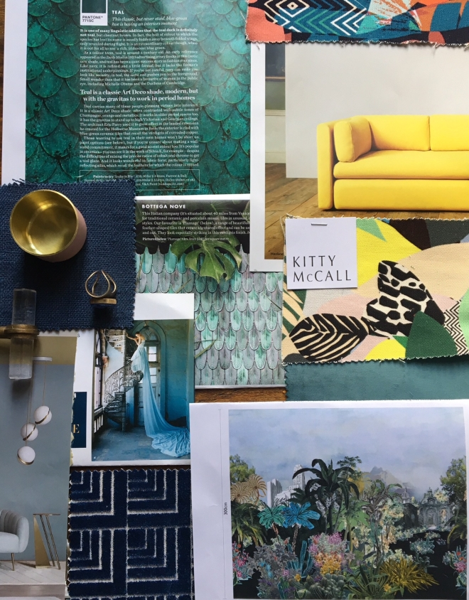 "Liznylon creates a ""Dream Lounge"" mood board of moody greens, blues, and pops of happy yellow"