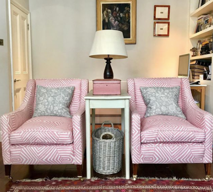 Matching pretty in pink armchairs in Mimi Pickard's Bell design