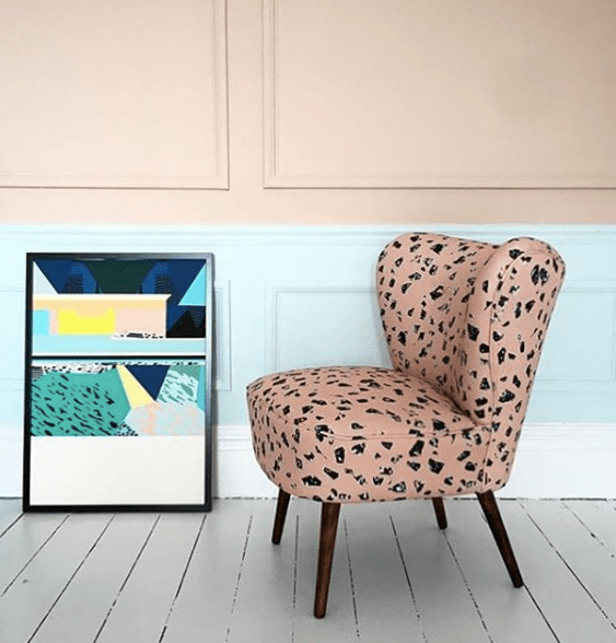 FlorrieandBill_peachchips_chair_with_Kitty_McCall_LA_art_print