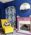 Karenanita_deep_blue_walls_and_yellow_chair