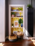 liznylon_kitchen_shelfie_with_yellow_wallpaper_summer_vibes 2