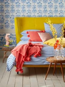 Sophie Robinson_Brenton_Blue_Stripes_Canary_Yellow_headboard