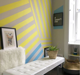Liznylon_yellow_stripes_wall_mural