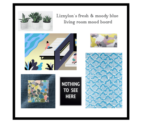 Liznylon fresh & moody blue living room moodboard