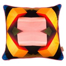 Geometric loveliness - Pink in the middle silk cushion