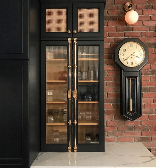 Black_Kitchen_Cabinet_with_brass_reeded_glass_and_cane_by_Cyndie_Jerome_in_Canada