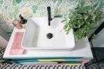 Liznylon_bathroom_upcycled_midcentury_vanity_with_quartz_top_colourful_wallpaper
