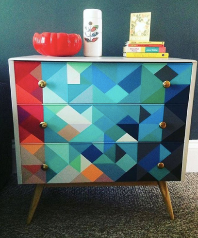 HappyRetroFurniture_painted_midcentury_dresser_in_red_and_blues