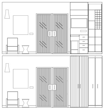 Liznylon_Auto_CAD_elevation_with_reeded_glass_doors_and_built_in_unit