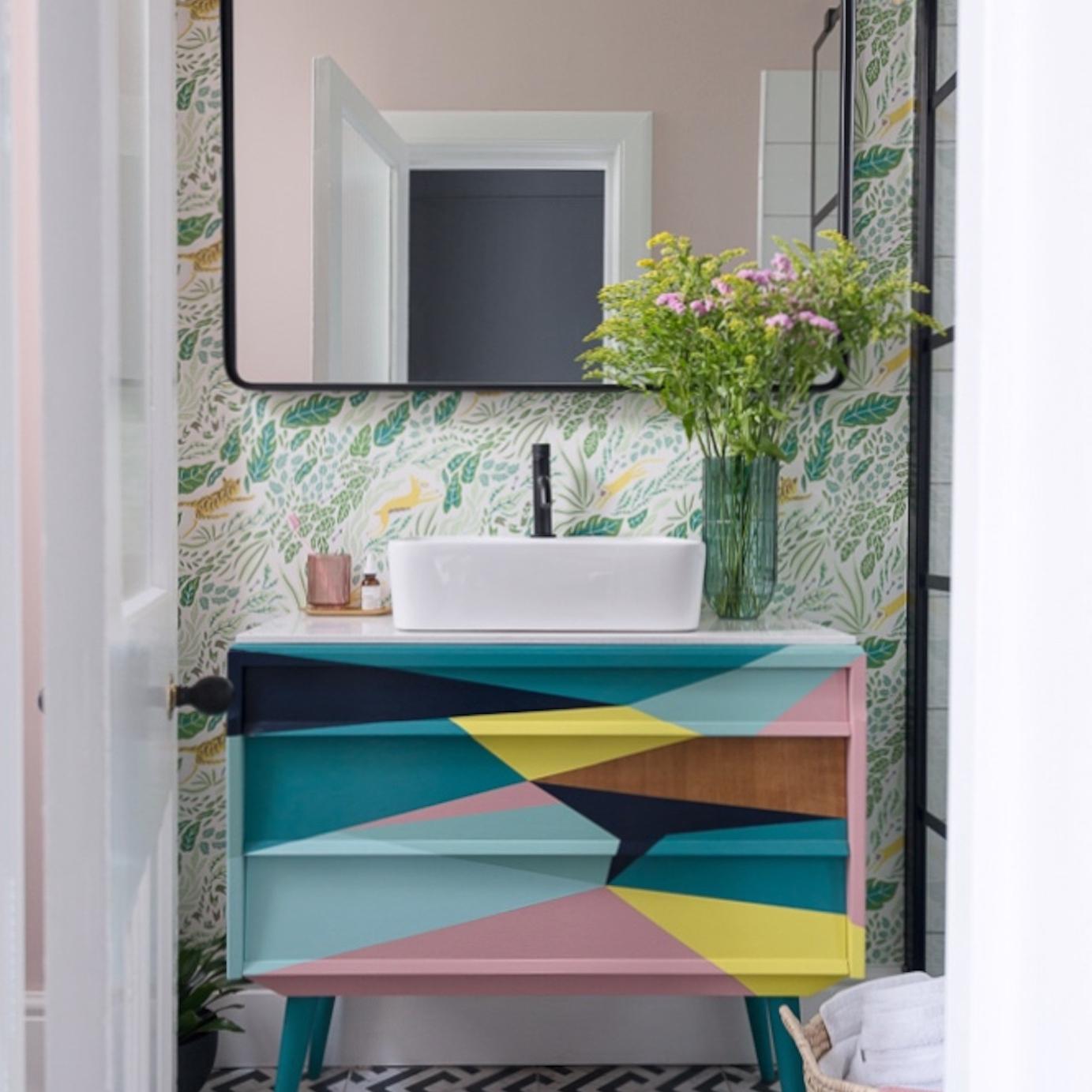 Liznylon_bathroom_upcycled_colourful_midcentury_vanity_with_wild_flowers