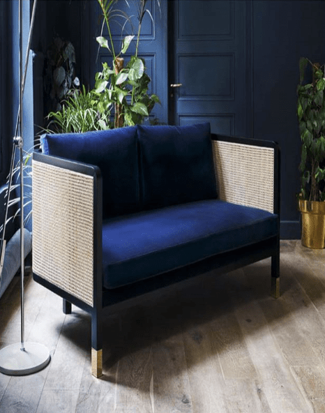 Curated_Home_Ireland_cane_and_velvet_armchair