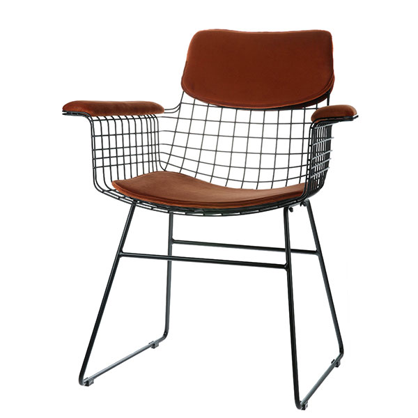 HKLiving-Wire-Chair-with-velvet-arms-and-seat-in-terracotta