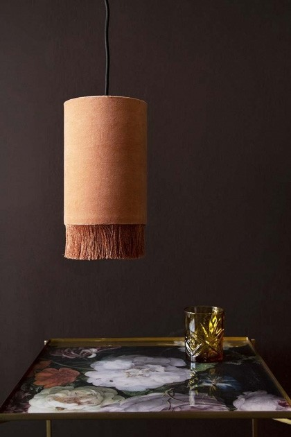 Rockett-StGeorge-velvet-pendant-ceiling-light-with-fringe-dusky-rose