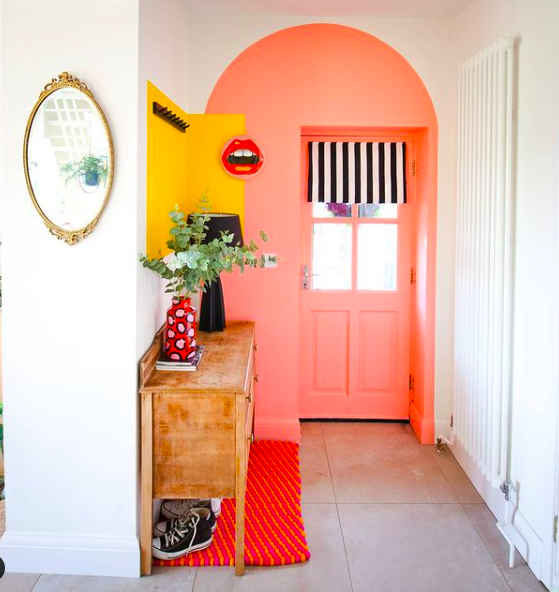colour-blocking-entryway-vibrant-peach-and-yellow
