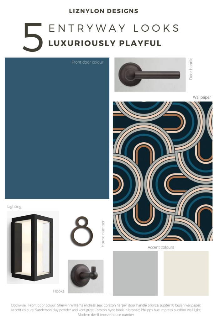 Liznylon-Designs-Entryway-looks-Luxuriously-Playful-with-bauhaus-number-rainbow-wallpaper