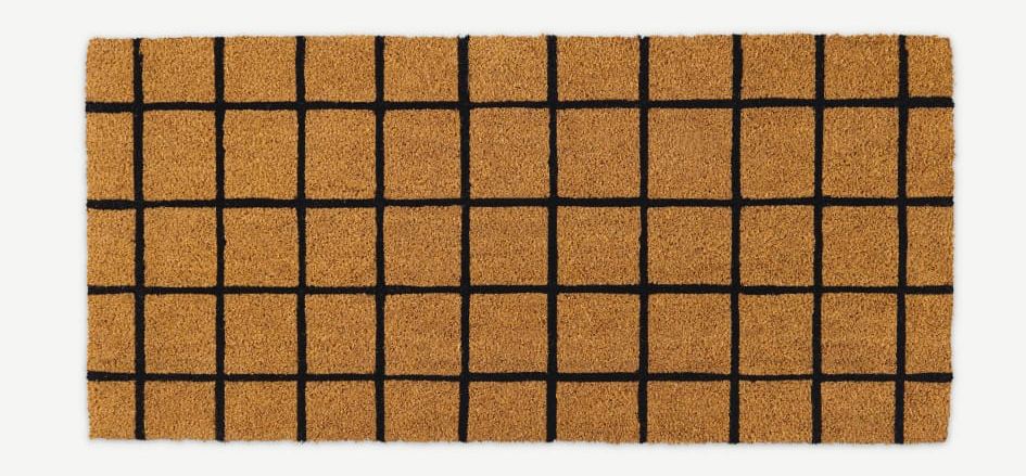Made-black-grid-oversized-doormat-in-coir
